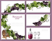 Templates for menu, invitation or labels with wine product elements and twigs of grape. Hand drawn sketch vector illustration