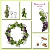 Templates for menu, invitation or labels with wine product elements, twigs of grape and wreath. Hand drawn sketch. Templates for menu, invitation or labels with stock illustration