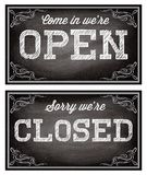 Templates for Open and closed signboards retro style Stock Photo