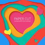 Templates with paper cut in shapes of heart , modern abstract design.. Vector 3D Illustration, papercut shapes with shadow. Realistic multi layers, carving of Stock Photo
