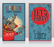 Templates for party banner, cartoon christmas deer drinking margarita Royalty Free Stock Image