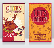 Templates for party banner, cartoon christmas deer drinking margarita Stock Photos