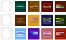 Templates and patterns for Easter eggs. Patterns with multi-colored geometric ornament. Three templates eggs for making images of Easter eggs Royalty Free Stock Photos