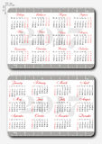 Templates of pocket calendar with grid for 2017. And straightedges 10 cm on edges of long sides and noted weekend days in red. Russian and english versions Stock Photo
