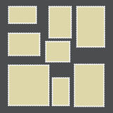Templates of postage stamps of different sizes. Vector illustration Royalty Free Stock Photos