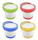 Templates for putty buckets with lids assorted colors. On white background. 3d illustration Stock Photo