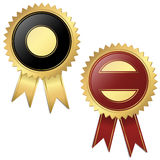 2 Templates - Quality seal black and red. Template of two golden medallions with ribbons Royalty Free Stock Images