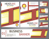Templates red, yellow brochure design, banner, gift cards Royalty Free Stock Image