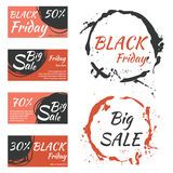 Templates for sale promotion on black friday. Vector illustration Royalty Free Stock Photos