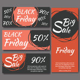 Templates for sale promotion on black friday. Vector illustration Royalty Free Stock Photo