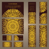 Templates set with business cards, invitations and banners. Floral mandala pattern and ornaments. Oriental design Layout. Asian, A Stock Photography