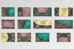 Templates set. Business cards, invitations and banners. Stock Image