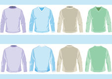 Templates of shirts. Collection of templates of long sleeve shirts with round and vee neck design stock illustration