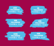 Templates for site, blog, social network. Stickers 1000, 5000, 10000, 20000, 100000, 50000 followers. Set of  elements. Stickers for web site, blog, social Royalty Free Stock Image