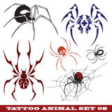Templates spider for tattoo. Vector set: templates spider for tattoo and design on different topics Royalty Free Stock Photos
