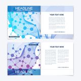 Templates for square brochure. Leaflet cover presentation. Business, science, technology design book layout. Scientific. Molecule background Stock Image