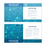 Templates for square brochure. Leaflet cover presentation. Business, science, technology design book layout. Scientific Stock Images