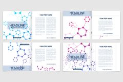 Templates for square brochure. Leaflet cover presentation. Business, science, technology design book layout. Scientific Royalty Free Stock Photography