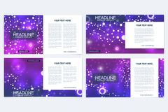 Templates for square brochure. Leaflet cover presentation. Business, science, technology design book layout. Scientific. Molecule background Stock Photos
