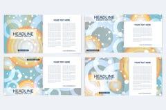Templates for square brochure. Leaflet cover presentation. Business, science, technology design book layout. Scientific. Molecule background vector illustration