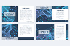 Templates for square brochure. Leaflet cover presentation. Business, science, technology design book layout. Scientific. Molecule background Royalty Free Stock Image
