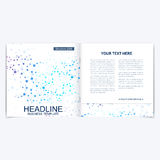 Templates for square brochure. Leaflet cover presentation. Business, science, technology design book layout. Scientific. Molecule background Royalty Free Stock Images