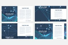 Templates for square brochure. Leaflet cover presentation. Business, science, technology design book layout. Scientific Stock Image
