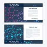 Templates for square brochure. Leaflet cover presentation. Business, science, technology design book layout. Scientific Royalty Free Stock Photos