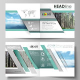 Templates for square design bi fold brochure, flyer. Leaflet cover, vector layout. Colorful background made of Royalty Free Stock Photos