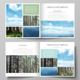 Templates for square design bi fold brochure, flyer. Leaflet cover, vector layout. Colorful background made of Stock Photo