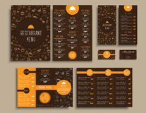 Templates style brown and orange colors, with drawings by hand Stock Image