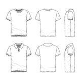 Templates of t-shirt and polo shirt. Stock Photo
