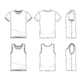 Templates of t-shirt and vest. Stock Images