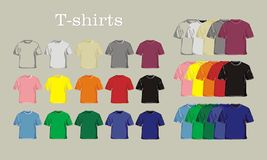 Templates T-shirts. Vector models of T-shirts of different colors royalty free illustration