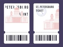 Templates of Tickets. Templates of modern tickets for Russian and European museums. Illustration of Saint Isaac`s Cathedral with black and white elements and the stock illustration