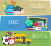 Templates to education school banners Royalty Free Stock Images