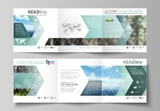 Templates for tri fold square design brochures. Leaflet cover, vector layout. Colorful background made of triangular or. Set of business templates for tri fold royalty free illustration