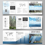 Templates for tri fold square design brochures. Leaflet cover, vector layout. Colorful background made of triangular or. Set of business templates for tri fold Stock Photos