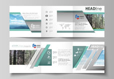 Templates for tri fold square design brochures. Leaflet cover, vector layout. Colorful background made of triangular or. Set of business templates for tri fold Royalty Free Stock Image