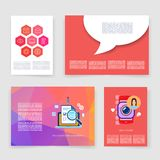 Templates. Vector flyer, brochure, magazine cover. Template can use for print and marketing. Applications and Infographic Concept. Modern flat design icons for Stock Photography