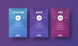 Templates of vector tables for a web site with a circle for spec. Ifying the price. Modern design banners with gradients for business and advertising. Set Royalty Free Stock Image