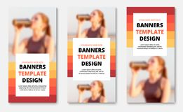 Templates for vertical web banners with place for photo, orange-red lines and white rectangle for text. Design standard size. Vector illustration stock illustration