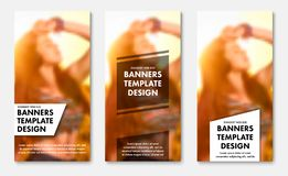 Templates for vertical web banners with transparent white and black elements for text. Design standard size for advertising royalty free illustration