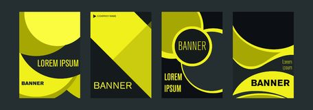 Templates for vertical web banners with yellow and black elements intersecting lines and space for a photo. royalty free illustration