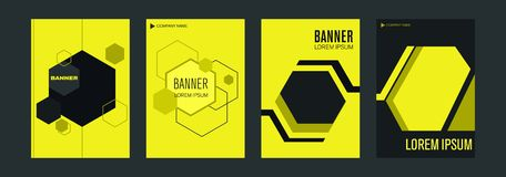 Templates for vertical web banners with yellow and black elements intersecting lines and space for a photo. vector illustration