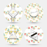 Templates vintage napkin . Patterns with geometric shapes and gold color Royalty Free Stock Image