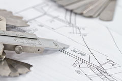 Templates for visual measurement control are on the drawing pipe Royalty Free Stock Photos
