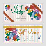 Templates of vouchers with colorful umbrellas Stock Images
