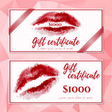 Templates of vouchers with red polygonal lips royalty free illustration