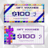 Templates of vouchers with tile mosaic blocks Royalty Free Stock Photography